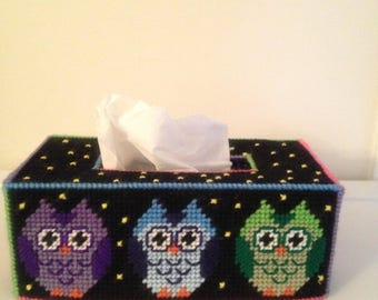 Colorful Owls Tissue Box Topper, Owl Plastic Canvas, Owl Gifts,  Long Tissue Box Cover, Owl Decor, Pink Owl, Green Owl, Blue Owl, Purple Owl