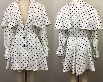 Vintage 80s White and Black POLKA DOT Trench Coat Mini Dress Fit and Flare Jacket M/L