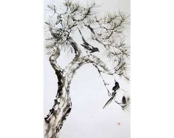 Large Sumi-e Ink Painting  Japanese ink painting Asian art Suibokuga  Rice paper flowers and birds Magpies  on the pine tree