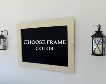 Extra LARGE FRAMED CHALKBOARD - Distressed, Vintage Look - Shown in Cream - 30 x 40 - Choose Color