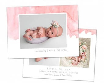 Birth Announcement Template - Watercolor Baby Announcement Template for Photographers - Newborn 5x7 card - CB111  - INSTANT DOWNLOAD