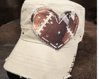 Khaki LOVE Football Mom Cadet Cap
