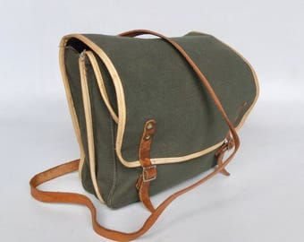 Vintage Military Canvas Crossbody Messenger Bag / Handbag / Student Bag / Genuine Leather Shoulder Strap /  60's Yugoslavia
