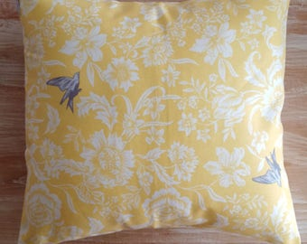 "Yellow floral pillow cover, grey birds, french country cottage decor, english country, farmhouse chic, 18"" square,"