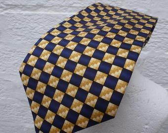 Mens tie silk necktie blue accessory wedding vintage mens 1990s gift Ascot tie boyfriend present blue necktie silk retro dad gift birthday.