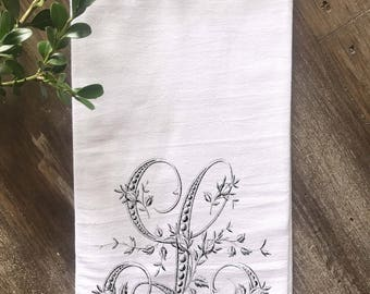 Monogrammed Towel, Farmhouse Flour Sack Towel, French Floral Monogram, Vintage Monogram,