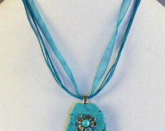 Turquoise Slab Pendant Necklace // Embellishments // Filigree Flower // Turquoise Bead