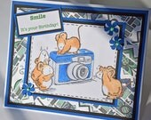 Smile It's Your Birthday - Handmade Greeting Card - Camera and Mice with 3D Embellishment