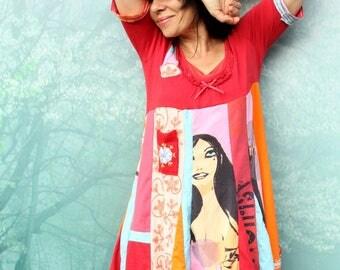 L Crazy pop art printed recycled dress tunic  patchwork hippie boho