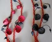 SALE 20% off Black, Statement Necklace, Eco Friendly Paper Jewelry, Chain Necklace, Papier Mache Accessories, Handmade, Boho, Natural