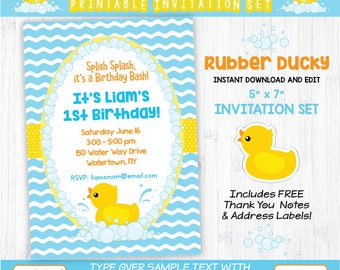 Rubber Ducky Invitation Set | INSTANT DOWNLOAD and Edit in Adobe Reader | Paper Craft Party