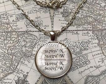 CUSTOM COORDINATES Latitude Longitude Necklace or Key Ring, Location GPS Coordinates Personalized Antique Bronze or Silver Plate