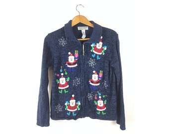 Ugly Christmas Sweater, L Tacky Christmas Sweater, large ugly Christmas sweaters, cardigan Christmas sweater
