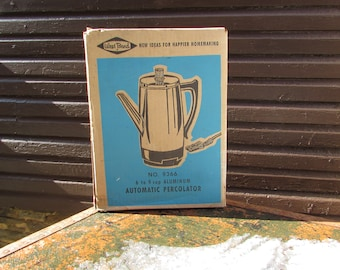 VINTAGE West Bend Aluminum Automatic Percolator. Chrome Coffee Pot. New Old Stock. SEALED in Box.