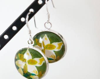 Green Earrings, Flower Earrings, Lily Earrings, Art Earrings, Sterling Silver Earwires, Floral Earrings, Nature Inspired Jewellery, Dangle