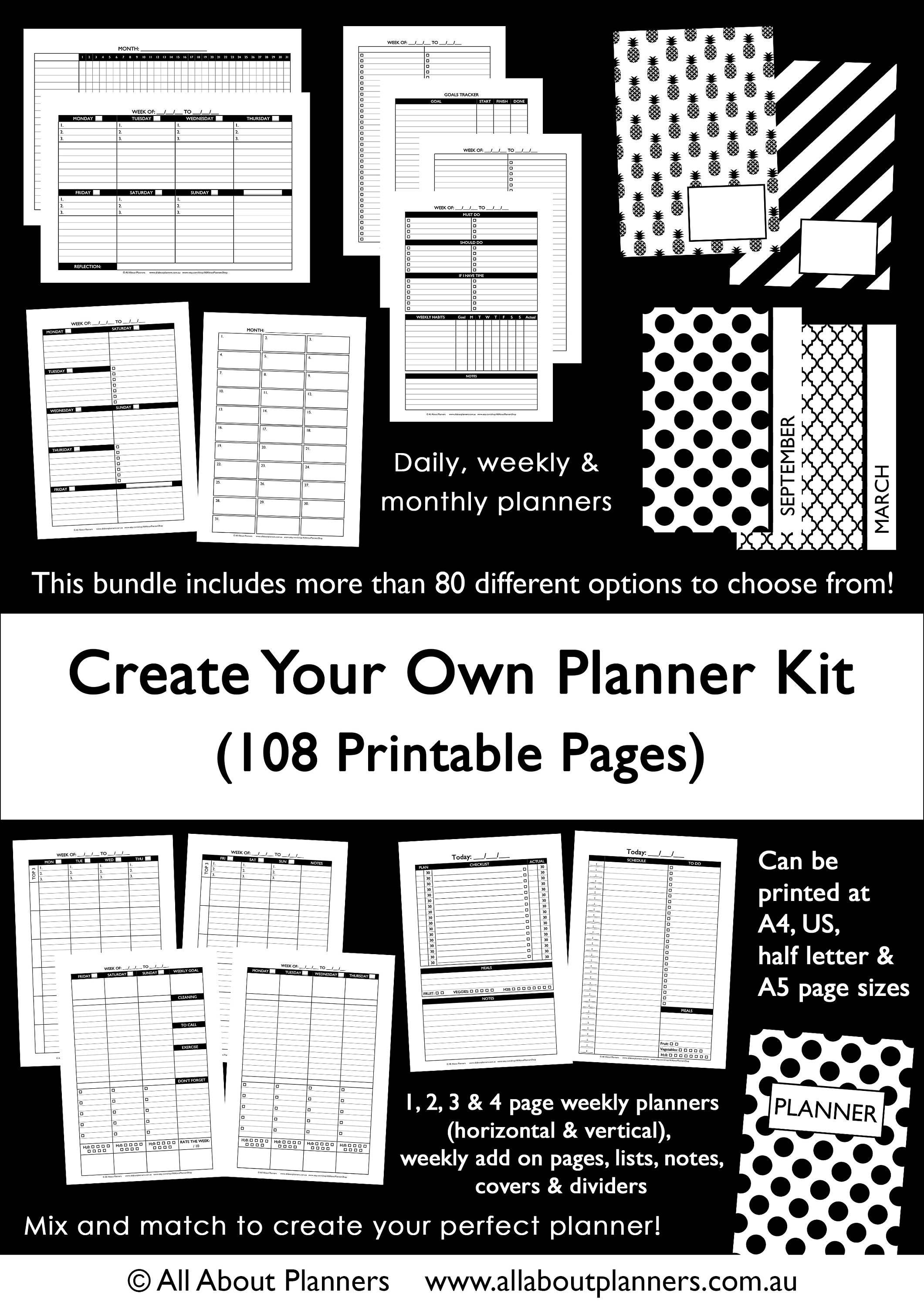 custom planner kit printable build your own weekly daily. Black Bedroom Furniture Sets. Home Design Ideas