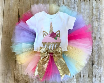 First Birthday Unicorn outfit, Rainbow Unicorn Birthday, 1st Birthday girl outfit, Cake smash outfit, Girls first birthday outfit, Pink Tutu