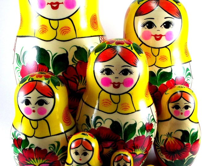 Nesting Dolls 9 pcs Russian matryoshka Babushka doll for kids set Wooden stacking authentic genuine toys Birthday gift for mom Rossiyanka