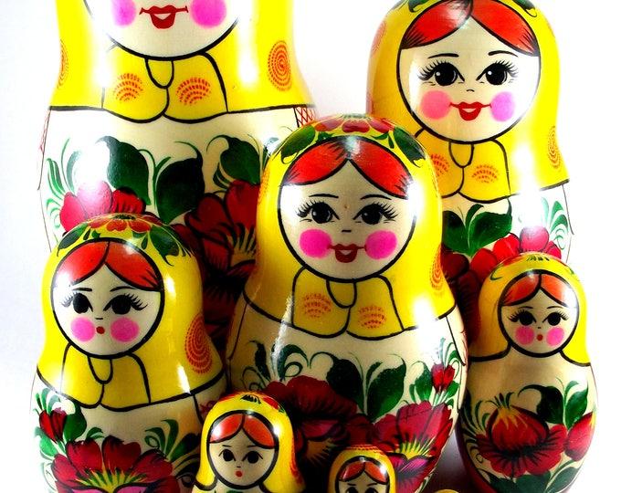 Nesting Dolls 9 pcs Russian matryoshka Babushka doll for kids set Wooden stacking authentic genuine toys Birthday gift for mom Rossiyanka