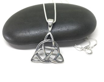 Celtic Knot Necklace Sterling Silver Triquetra Necklace Large Triquetra Trinity Knot Pendant Celtic Necklace Solid Pendant