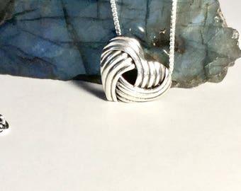Love knot pendant etsy love knot necklace sterling silver love knot pendant silver charm silver slider celtic pendant aloadofball Image collections