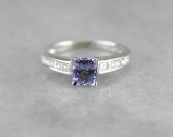 Lilac Sapphire Diamond White Gold Engagement Ring V4A1H5-N