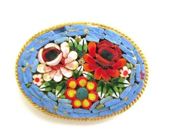 Italian Micro Mosaic Pin/Periwinkle Blue  Oval Micromosaic Brooch/  Floral Gold Tone  / Pink Yellow  Red Flowers Roped Bezel Brooch