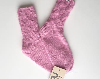 Pink Warm socks Soft winter socks Soft, long-lasting hand knitted socks Boots socks Slipper socks Cable knit socks Mohair yarn socks