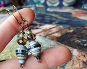 Mixed Landscape Nature Book Paper Bead Earrings Color Stacks