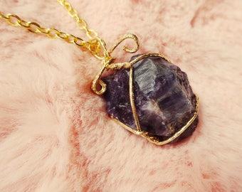 Amethyst Raw Crystal Moon Aura Wire-wrapped Quartz Sci Fi Galaxy Pendant Necklace Jewellery Jewelry