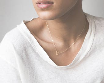 Tiny Gold Triangle Necklace / FLOATING TRIANGLe Necklace / Delicate Necklace / Little Gold Triangle 14k Gold Fill Chain Layered + Long LN301