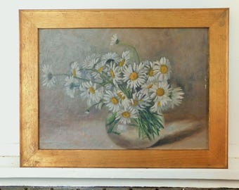 """Antique, Oil Painting, Floral Still Life, Daisies, Gold Toned Wood Frame, 16 1/2"""" x 12 3/4"""""""