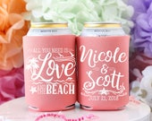 Personalized Wedding Favors, Love and the Beach, Custom Can Cooler, Starfish Wedding, Destination Wedding, Beach Party, Mexico Wedding