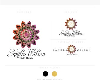 mandala 4 script flower golden healthcare logo Douala Initials moms care wedding boutique feminine elegant fashion business cards banner