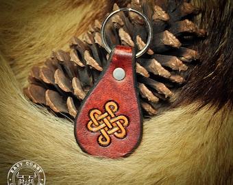 Leather Key Fob Laynard Keychain - Celtic Knot-work