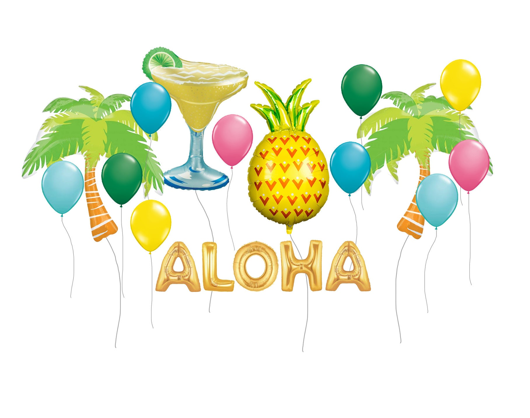 Balloon bouquet delivery balloon decorating 866 340 - Tropical Party Balloon Kit Pineapple Balloons Margarita Party Balloons Tropical Decor Pineapple Decor Summer Decor Luau Decor Balloons