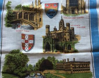 "Vintage Linen Kitchen Towel // 29.5x19"" > City of Cambridge scenes, buildings, coats of arms > Unused"