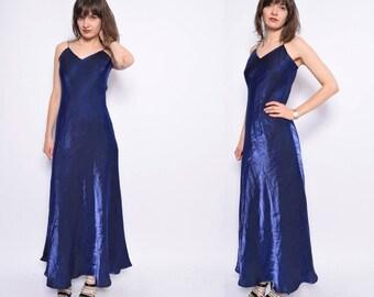 Vintage 90's Strappy Metallic Blue Maxi Dress / Spaghetti Strap  Evening Dress - Size Medium