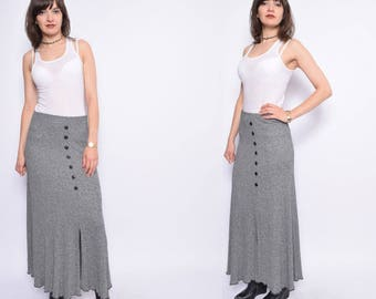 Vintage 90's Ribbed Maxi Skirt / Knit Ribbed Gray Skirt / Button Flared Skirt - Size Small
