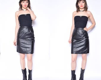 Vintage 90's Real Leather High Waist Black Skirt / Black Genuine Leather Skirt /Leather Mini Skirt  - Size Small
