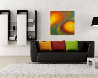 Abstract Rainbow Painting Swirl painting Original oil painting on canvas Colorful wall art with yellow orange red green blue Size 24 x 24
