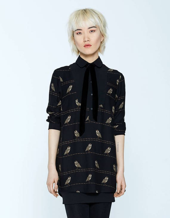 COLLINS - three-quarter tunic shirt with velvet scarf for womens - black with owls print