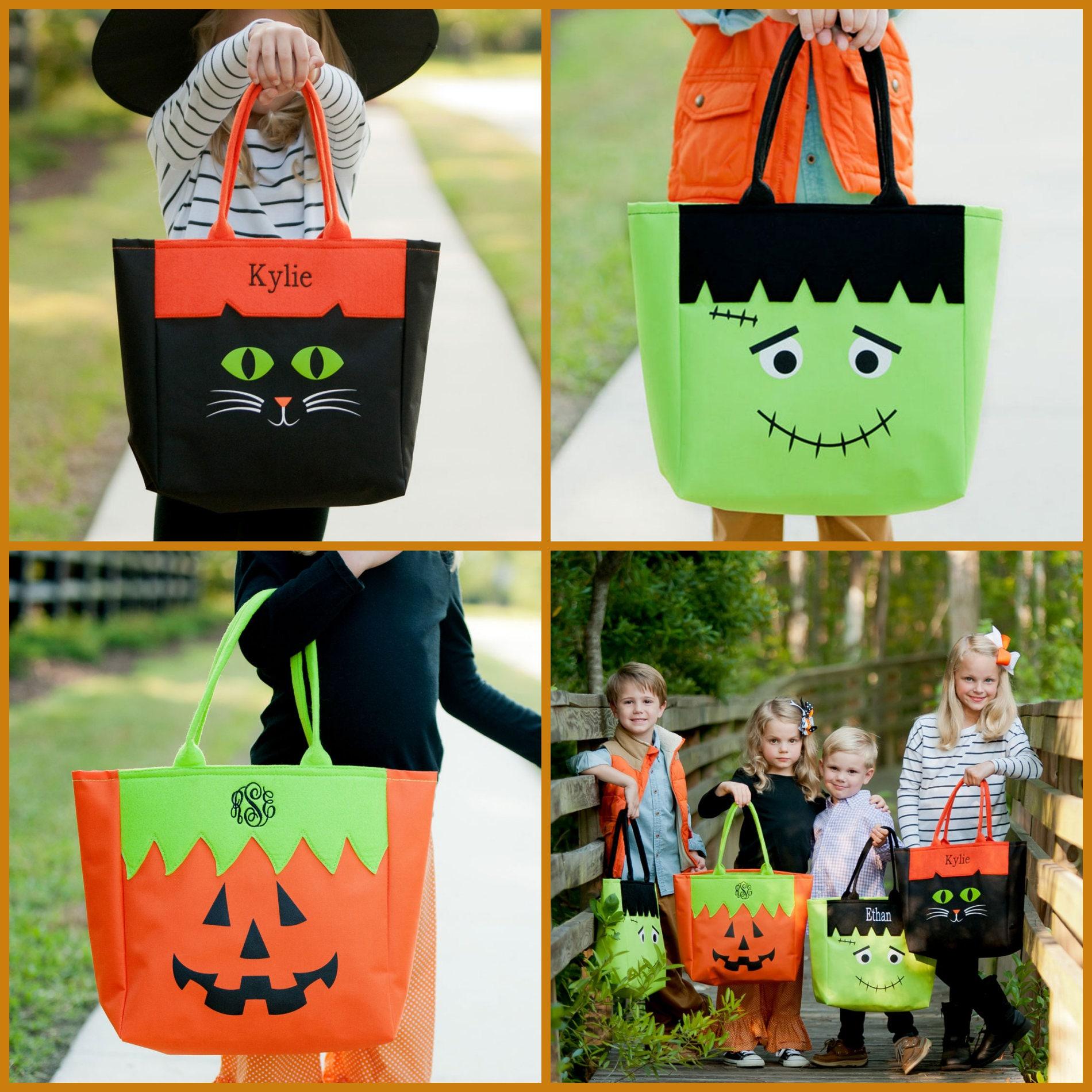 halloween tote halloween tote with monogram personalized halloween bag personalized tote bag