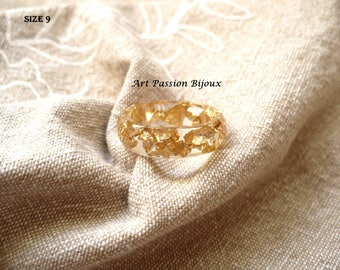 Golden metal leaf, resin ring, gold leaf effect, ecological resin, greek jewelry, 15% off ship, made in Italy