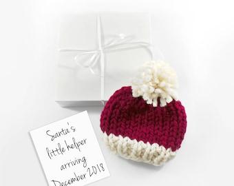 Christmas Pregnancy Announcement, December Baby Reveal, Santa Hat Grandparent Reveal, Gift Set