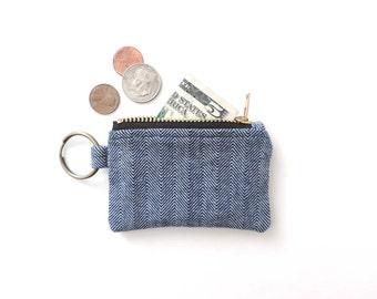 Keychain Coin Purse Blue Herringbone