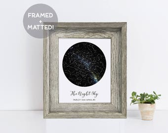 Custom Framed Constellation Map, Distressed Grey Wood Frame, Engagement Gift, Baby Gift, Wedding Gift, Night Sky Print, Constellation Art