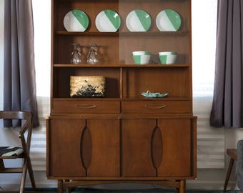 Mid Century Modern Garrison Furniture Company Danish Influenced Walnut China Hutch Cabinet