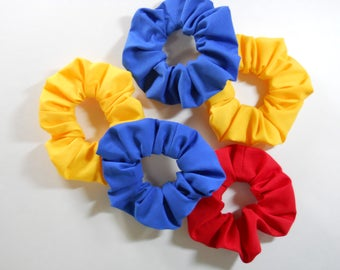 Scrunchies in Red, Blue or Yellow Cotton Fabric / Basic Color Scrunchies / Woven Fabric Scrunchies Primary Colors