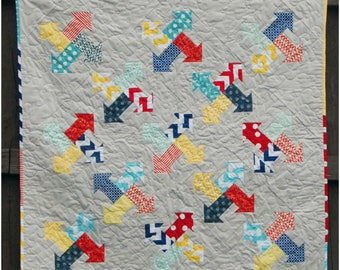 Arrows All Around - printed quilt pattern- baby, lap, and twin sizes - pre-cut and scrap friendly